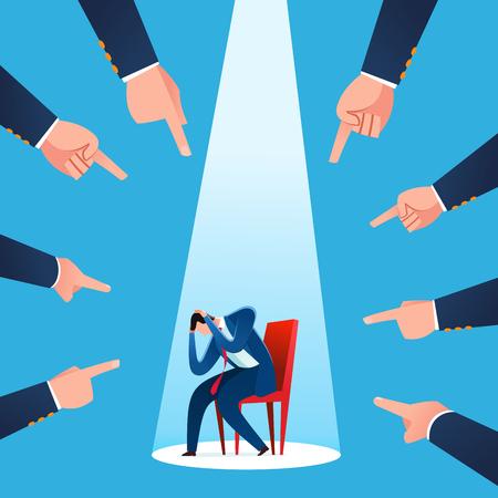 Geschäftsmann wird für Geschäftsverlust und -versagen verantwortlich gemacht. Business-Konzept-Vektor-Illustration.