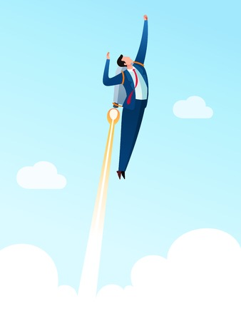 Businessman wearing a jetpack and taking off to high sky. Business concept vector illustration.