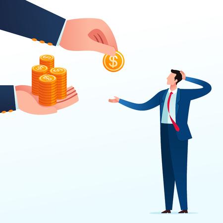 Geschäftsmann bekommt unfaire Geschäftsteilung von seinem Partner. Business-Konzept-Vektor-Illustration.