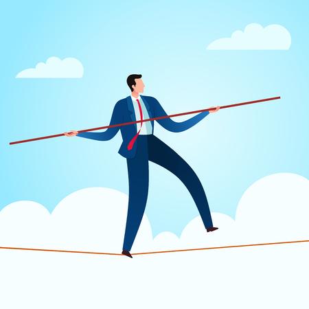 Marcher dans une corde avec un balancier pour gagner en stabilité commerciale. Illustration de concept d'entreprise.