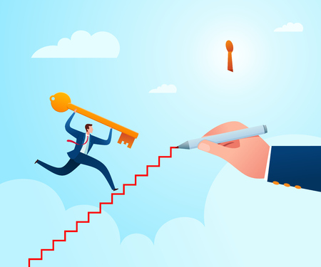 Get a guidance to put a key in its place as an problem solution. Business concept vector illustration.