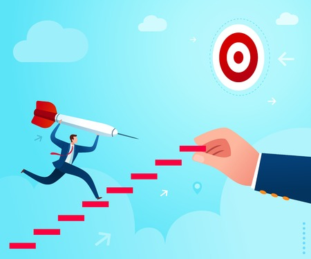 get a stairway assistance to climb business step and reach business target. Business concept illustration.