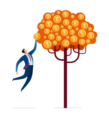 Harvesting the fruit of business tree. Business investment concept illustration.