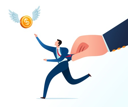 Get hold by boss while chase flying money in the sky. Business concept illustration.