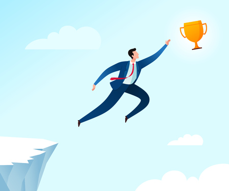 Jumping from the cliff to reach achievement trophy. Business concept illustration. Ilustração