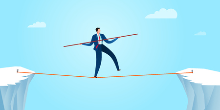 Walking in a rope with a balancing pole to gain business stability. Business concept illustration. Ilustração