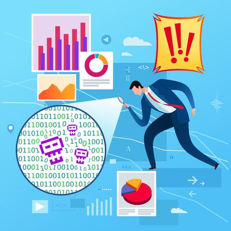 Business data analysis found an error. Business concept illustration. Illustration