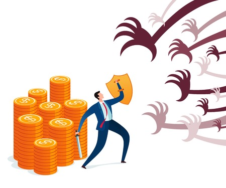 Businessman protect his wealth from attack. Business concept illustration. Ilustración de vector