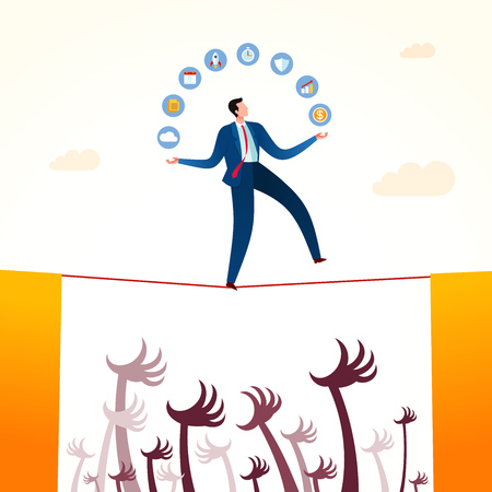 Walking in a rope holding business strategy with danger situation below. Business concept illustration.