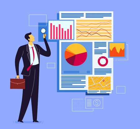 Business report analysis. Business concept vector illustration.
