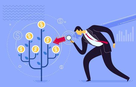 Business development analysis. Business concept vector illustration.