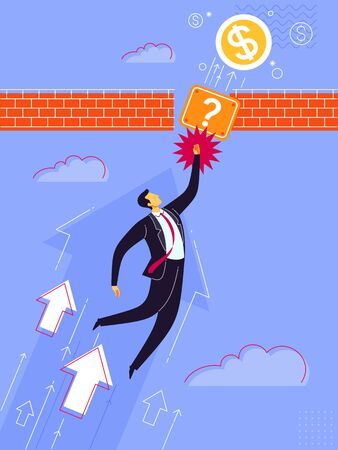 Businessman get jump reaching mystery box. Business concept vector illustration. Çizim