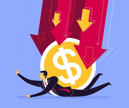Businessman getting pressed by dollar currency. Business concept vector illustration.
