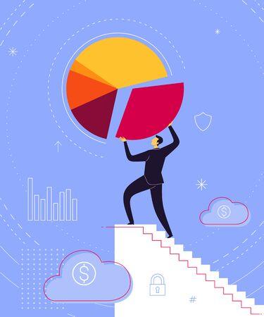 Businessman take a step uniting business result. Business concept vector illustration.