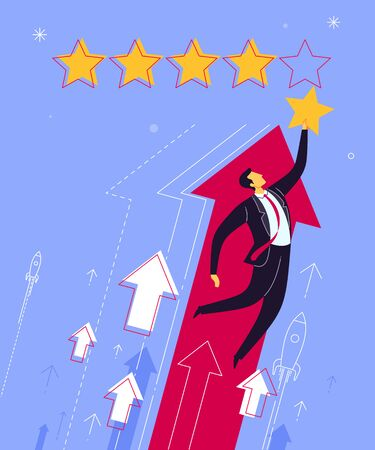 Businessman jumping to get best rating and evaluation. Business concept vector illustration.