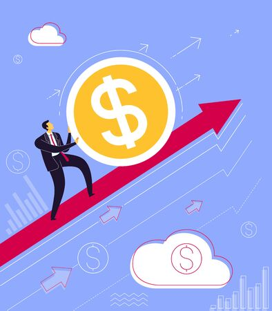 Businessman take a step to reach business success. Business concept vector illustration.