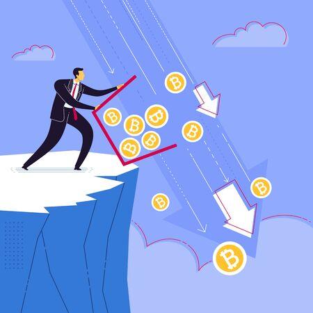 Businessman throw away bitcoin currency saving. Business concept vector illustration.