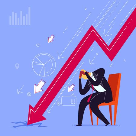 Businessman get depressed because of business failure. Business concept vector illustration.