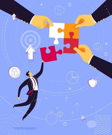 Businessman take a jump uniting puzzle. Business concept vector illustration.