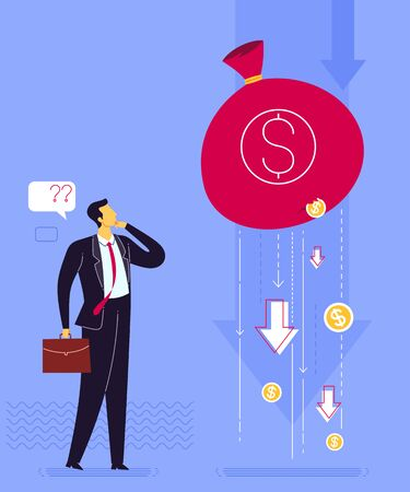 Businessmans strategy to prevent business loss. Business concept vector illustration Иллюстрация