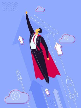 Businessman wearing a cape and taking off to high sky. Business concept vector illustration. Ilustração