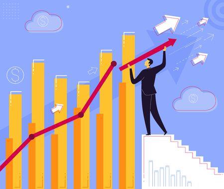 Businessman step on a stair to reach business success. Business concept vector illustration. Ilustração