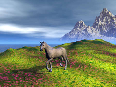 A horse, walking on a meadow. Rendered with Bryce 6 Stock Photo