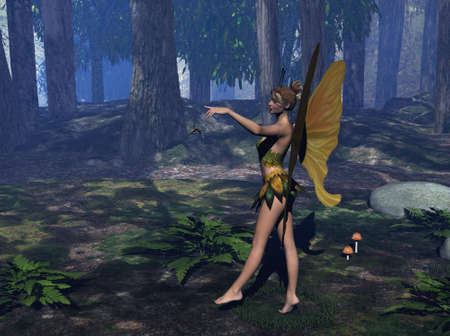 A fairy, standing in a forest - Raytraced with Bryce 6