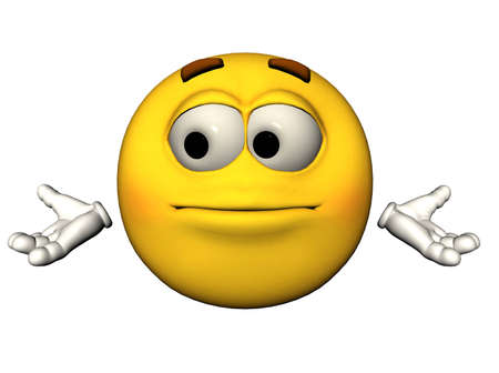 baffled: 3D illustration of a helpless emoticon Stock Photo