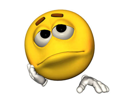 bored: 3D illustration of a sad emoticon Stock Photo
