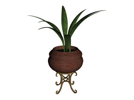 3D illustration of a plant in a bowl Stock Illustration - 7149207