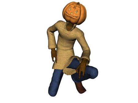 3D Illustration of a pumpkinman Stock Illustration - 7149286