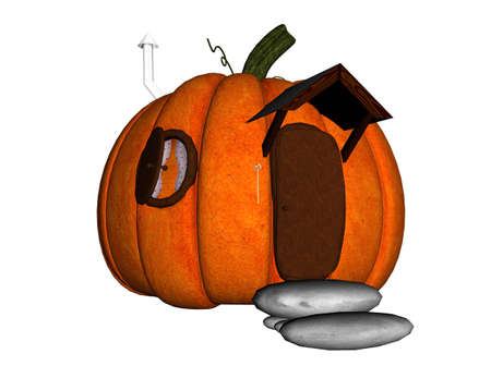 a raytraced house made of a pumpkin photo