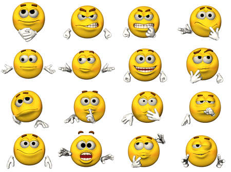 16 isolated illustrations of emoticons illustration