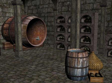 3D illustration of a wine cellar