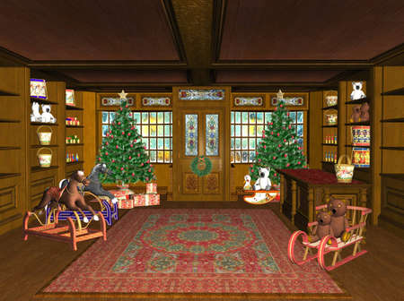 toy shop: rendered Christmas Shop with toys and gifts