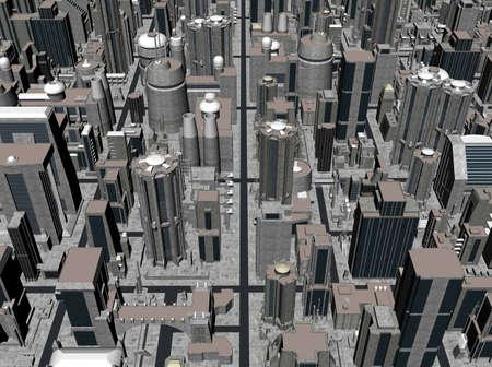 dystopia: Render of dystopian city Stock Photo