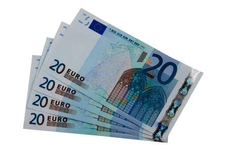 Four 20 euro bills, isolated on white background Reklamní fotografie