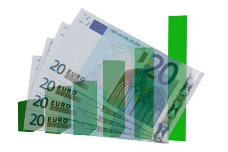 Four 20 euro bills, isolated on white, with green bars on background