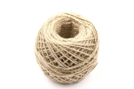 Ball of hemp rope, isolated on white background