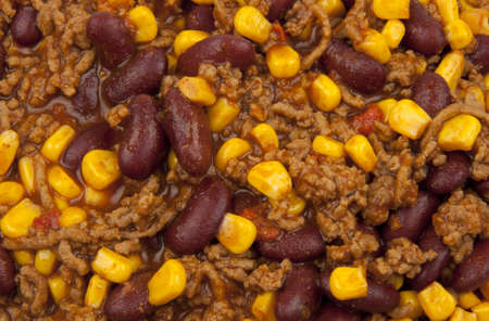 Chili con carne with beans and corn