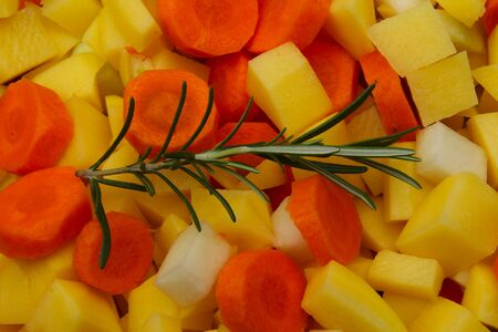 various, mixed raw and unprocessed vegetables with herbs Reklamní fotografie