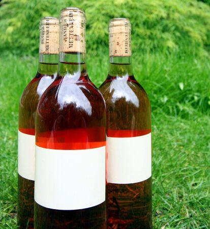 Trio of Wine Bottles Stock Photo