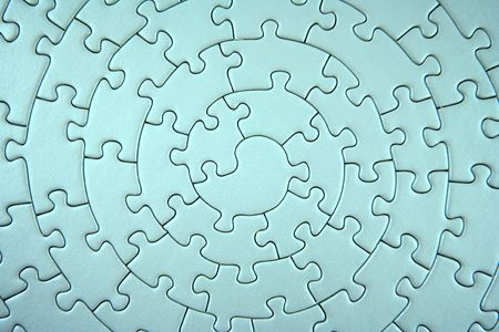 complete turquoise jigsaw wide angle - pieces fitting together in form of a spiral -  Stock Photo - 1807826