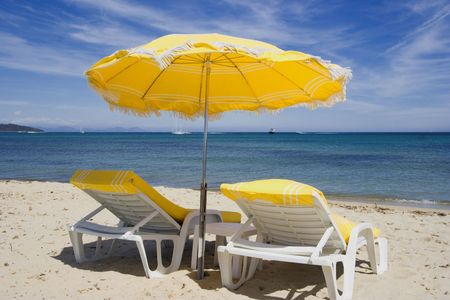 french riviera: summer on the beach - saint-tropez, french riviera -  Stock Photo