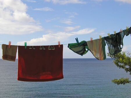 soppy: clothesline in front of the caribbean sea