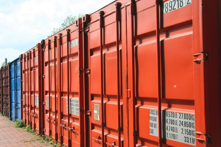 Container in a row - waiting for the next journey