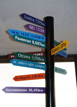 nfld: air-line distance in kilometers from vancouver to other towns worldwide - destination board
