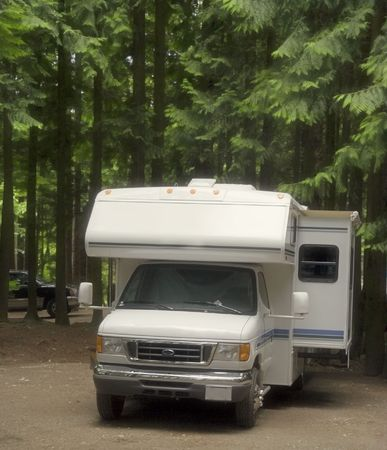 motorhome on a campground with slide-out - manning provincial park, canada Stock Photo
