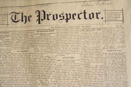 prospector: periódico diario de la antigüedad - a partir de enero, 13, 1900 Foto de archivo